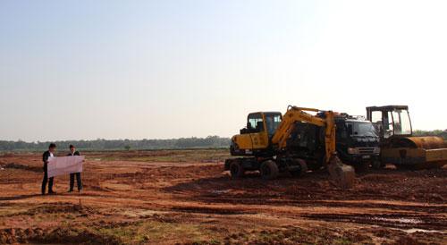Hạ tầng kỹ thuật khu dân cư số 3 thị trấn Thắng đang được khẩn trương hoàn thiện.
