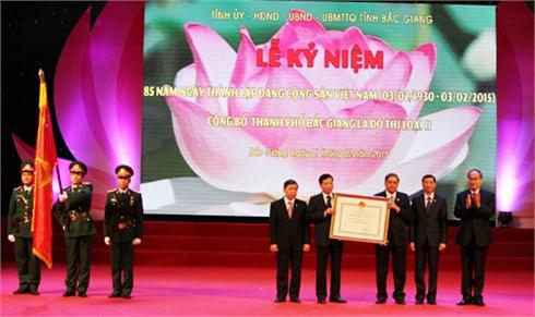 Lễ Kỷ niệm 85 năm Ngày thành lập Đảng và Công bố thành phố Bắc Giang là đô thị loại II