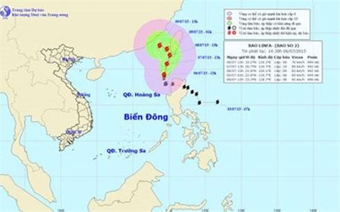 Khu vực Bắc Biển Đông có gió giật cấp 12 do ảnh hưởng bão số 2