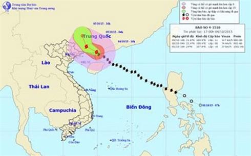 Rạng sáng mai, bão số 4 tiến về phía Nam tỉnh Quảng Tây (Trung Quốc)