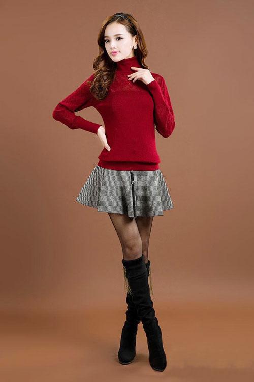 trẻ trung, năng động,  áo len, chân váy