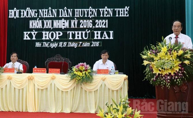 Kỳ họp thứ hai, HĐND huyện Yên Thế, khóa XXI, thông qua, nghị quyết
