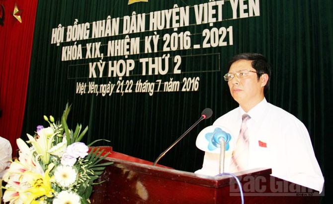 HĐND huyện Việt Yên, khóa XIX, nhiệm kỳ 2016-2021, tổ chức, kỳ họp thứ 2