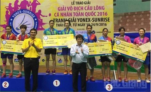 Đoàn Bắc Giang giành 3 huy chương tại Giải vô địch cầu lông cá nhân toàn quốc năm 2016