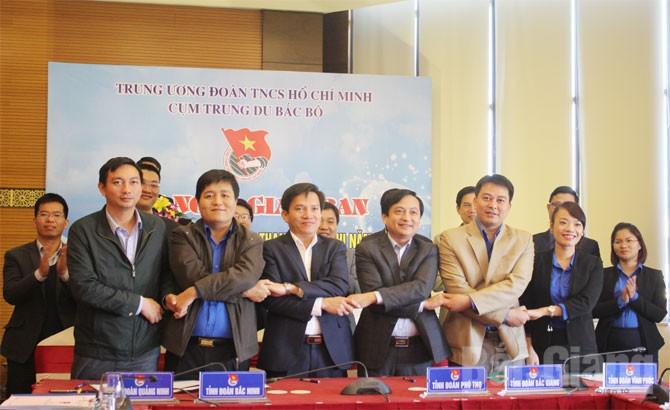 Đoàn Thanh niên các tỉnh cụm Trung du Bắc Bộ ký giao ước thi đua