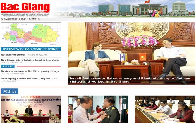 Kính mời, đọc báo Bắc Giang,  điện tử tiếng Anh