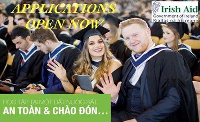 Chính phủ Ireland, 30 học bổng, toàn phần, ứng viên Việt Nam