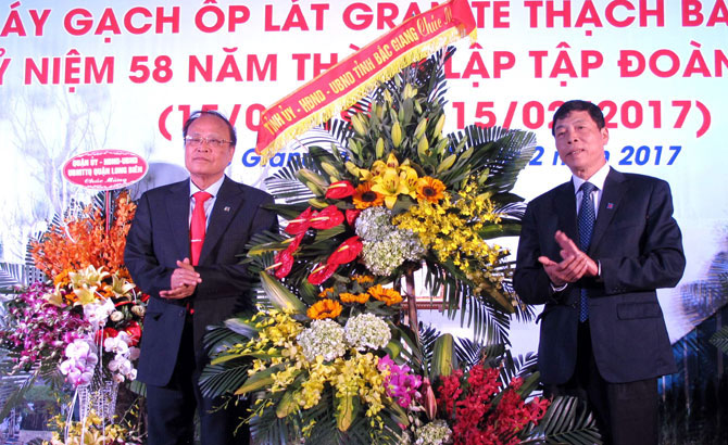 Bac Giang, Thach Ban granite tile plant, ceremony