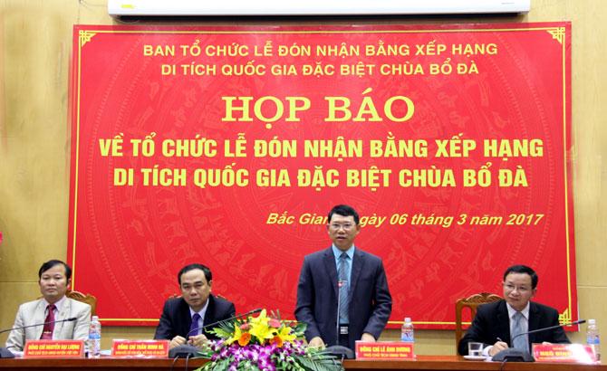 Họp báo về Lễ đón nhận Bằng xếp hạng Di tích Quốc gia đặc biệt chùa Bổ Đà