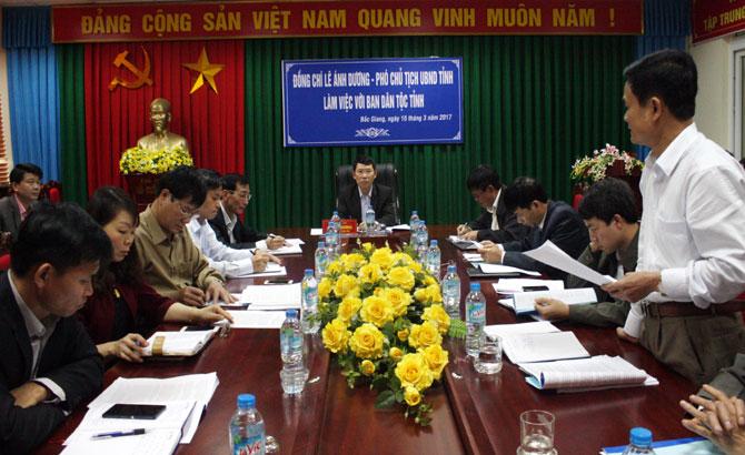 Phó Chủ tịch UBND tỉnh, Lê Ánh Dương, làm việc, Ban Dân tộc tỉnh