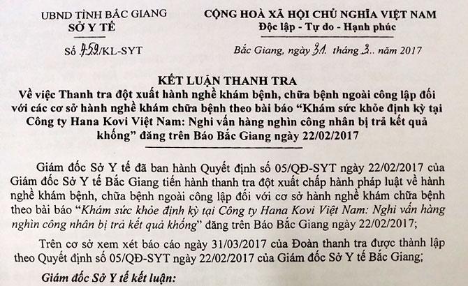 Không công nhận kết quả khám sức khỏe định kỳ cho công nhân Công ty TNHH Hana Kovi Việt Nam