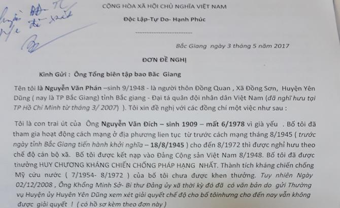Xem xét giải quyết chế độ người có công đối với cụ Nguyễn Văn Đích