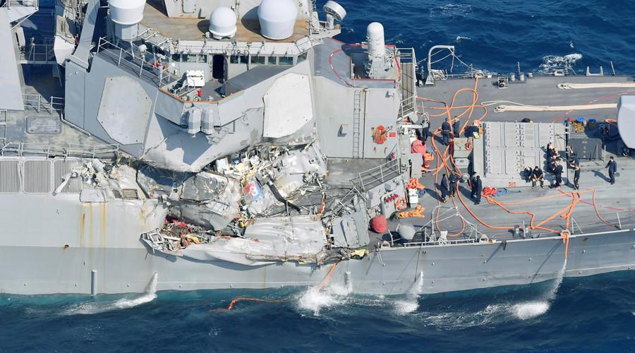 Tìm thấy, thi thể, thủy thủ, mất tích, tàu khu trục, Mỹ, tàu hàng, đâm móp