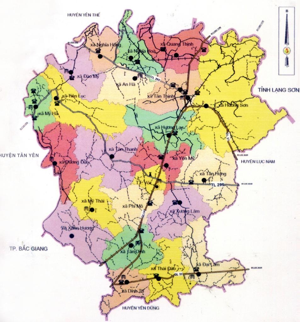 Bản đồ hành chính huyện Lạng Giang