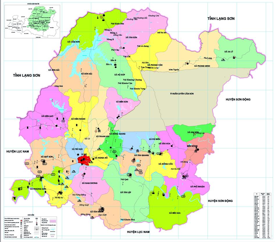Bản đồ hành chính huyện Hiệp Hòa