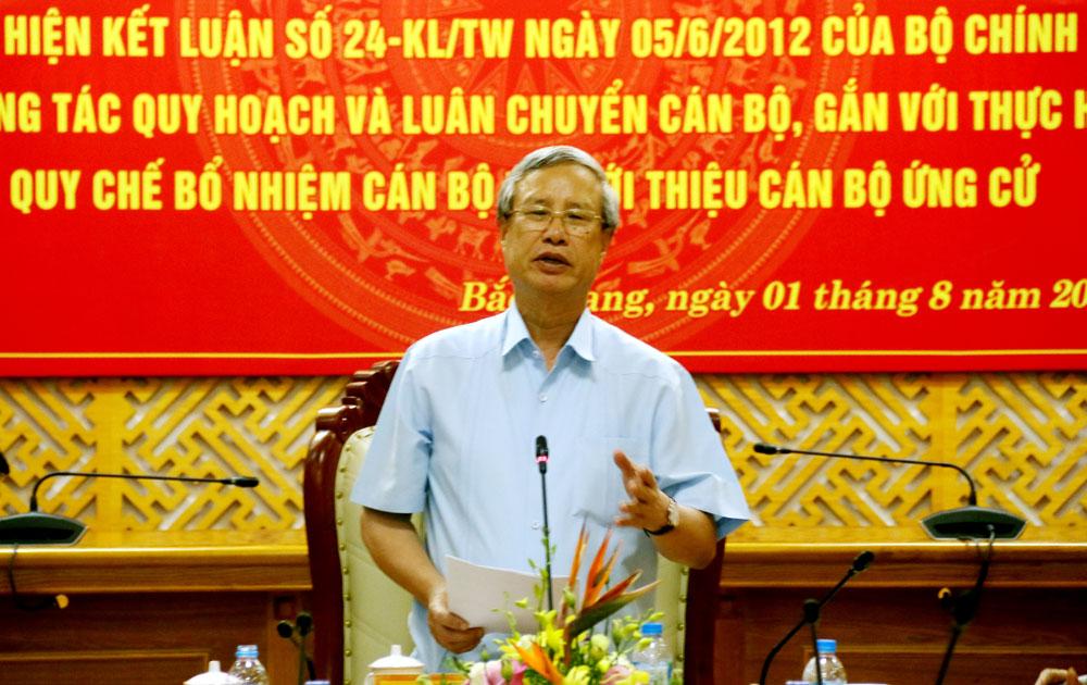 Bộ Chính trị thông qua dự thảo Báo cáo kết quả kiểm tra công tác quy hoạch và luân chuyển cán bộ tại Bắc Giang