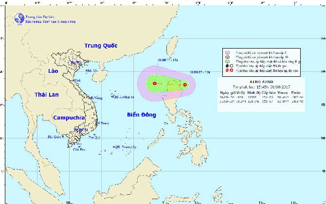 Áp thấp nhiệt đới giật cấp 9 gần Biển Đông