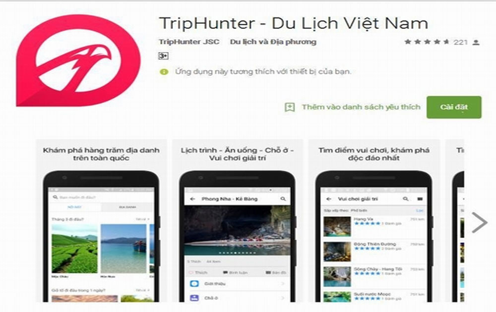 App về du lịch, cài đặt, dế yêu