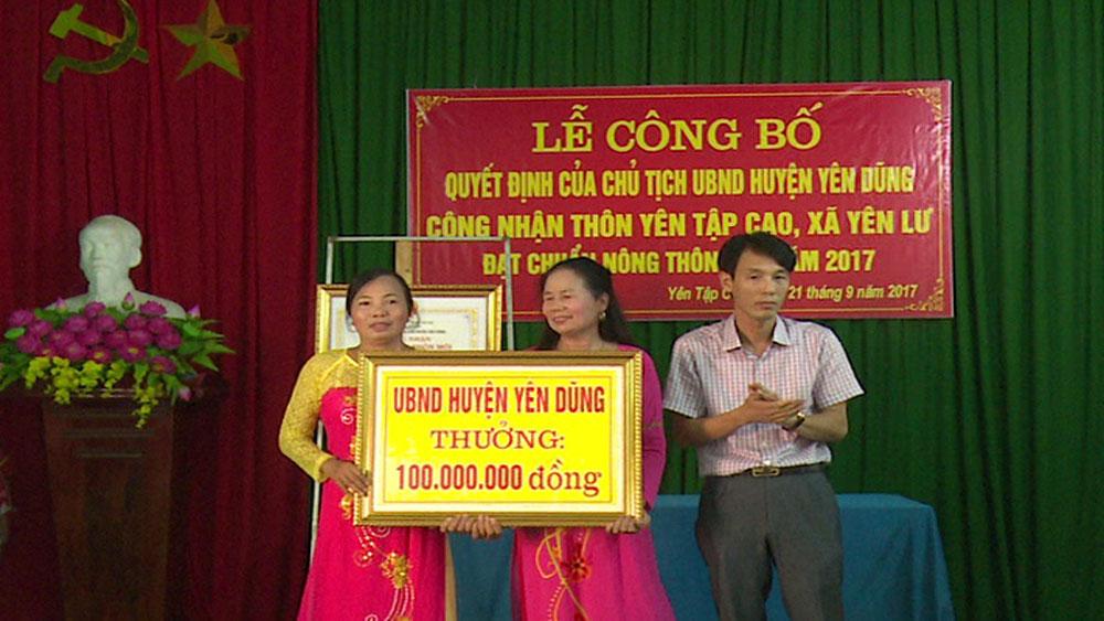Thôn Yên Tập Cao, xã Yên Lư (Yên Dũng)đạt chuẩn nông thôn mới