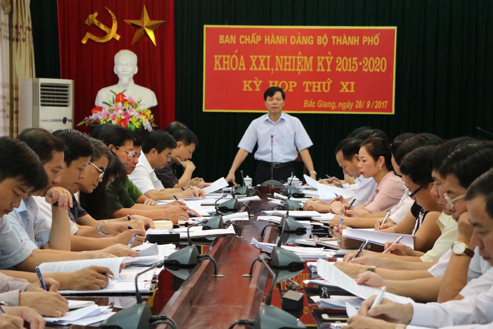 Ban Chấp hành Đảng bộ TP Bắc Giang (khóa XXI) tổ chức kỳ họp thứ XI