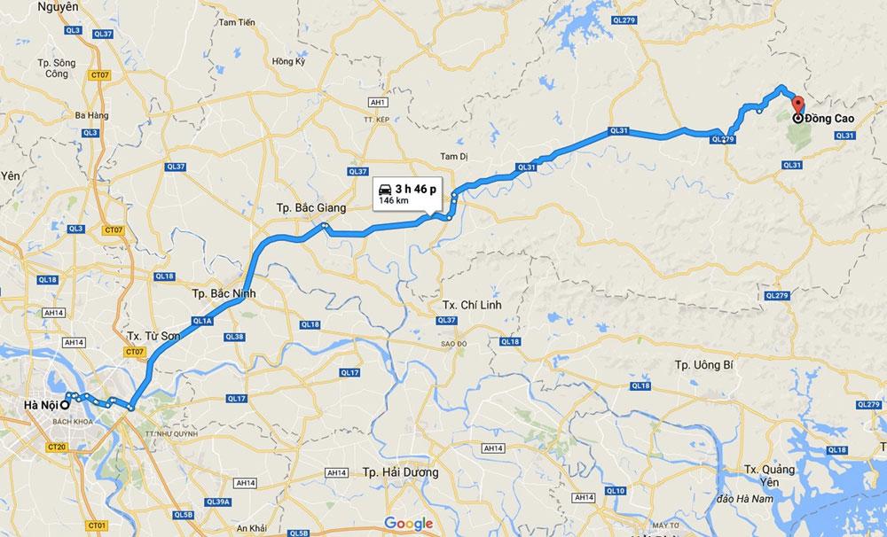 Bản đồ chỉ dẫn cung đường từ Hà Nội tới Đồng Cao.