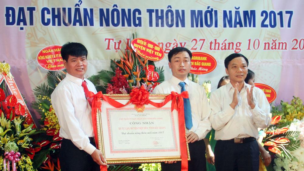 Xã Tự Lạn (Việt Yên) đón Bằng công nhận nông thôn mới