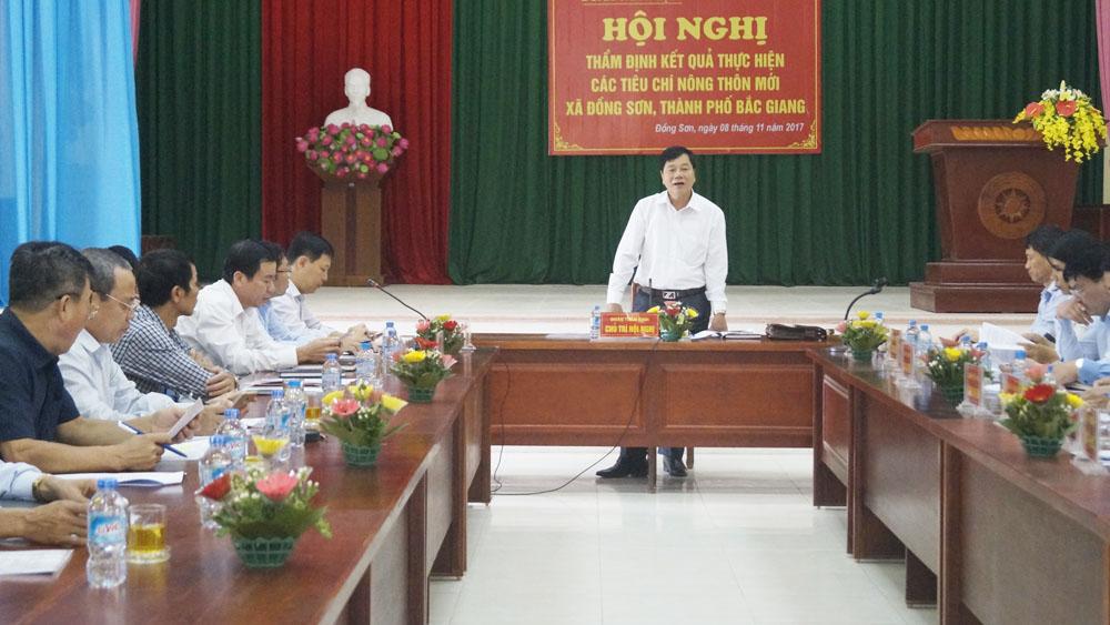 Thẩm định kết quả thực hiện các tiêu chí nông thôn mới xã Đồng Sơn