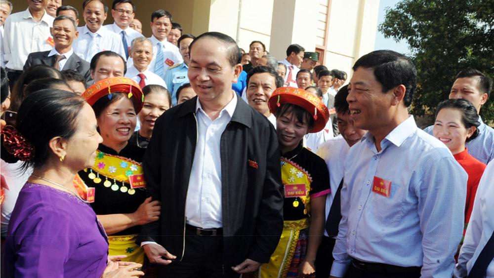 Chủ tịch nước Trần Đại Quang dự Ngày hội Đại đoàn kết dân tộc tại huyện Lạng Giang