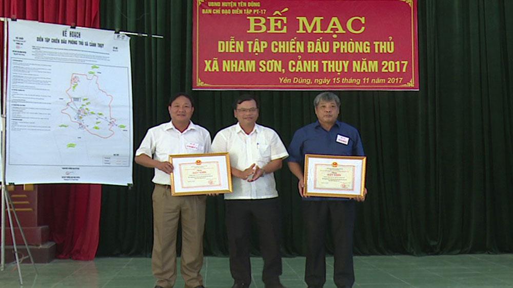 Diễn tập chiến đấu phòng thủ xã Nham Sơn và xã Cảnh Thụy năm 2017