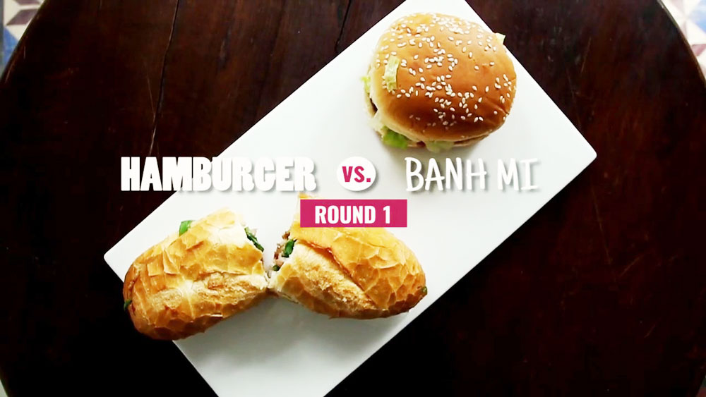 Vietnam's street food vs foreign fast food - Round 1: Banh mi vs hamburger