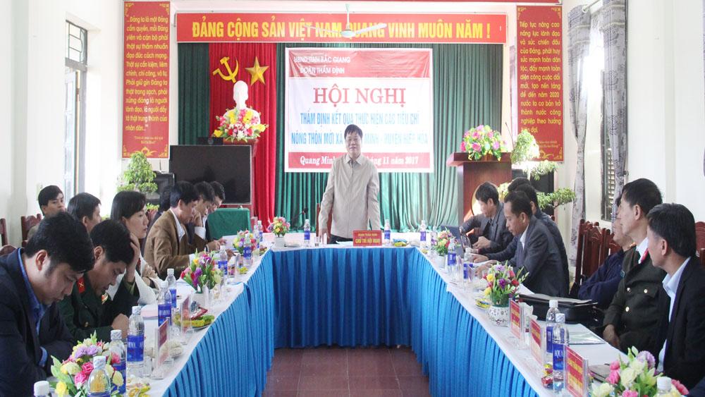 Thẩm định kết quả thực hiện các tiêu chí nông thôn mới xã Quang Minh