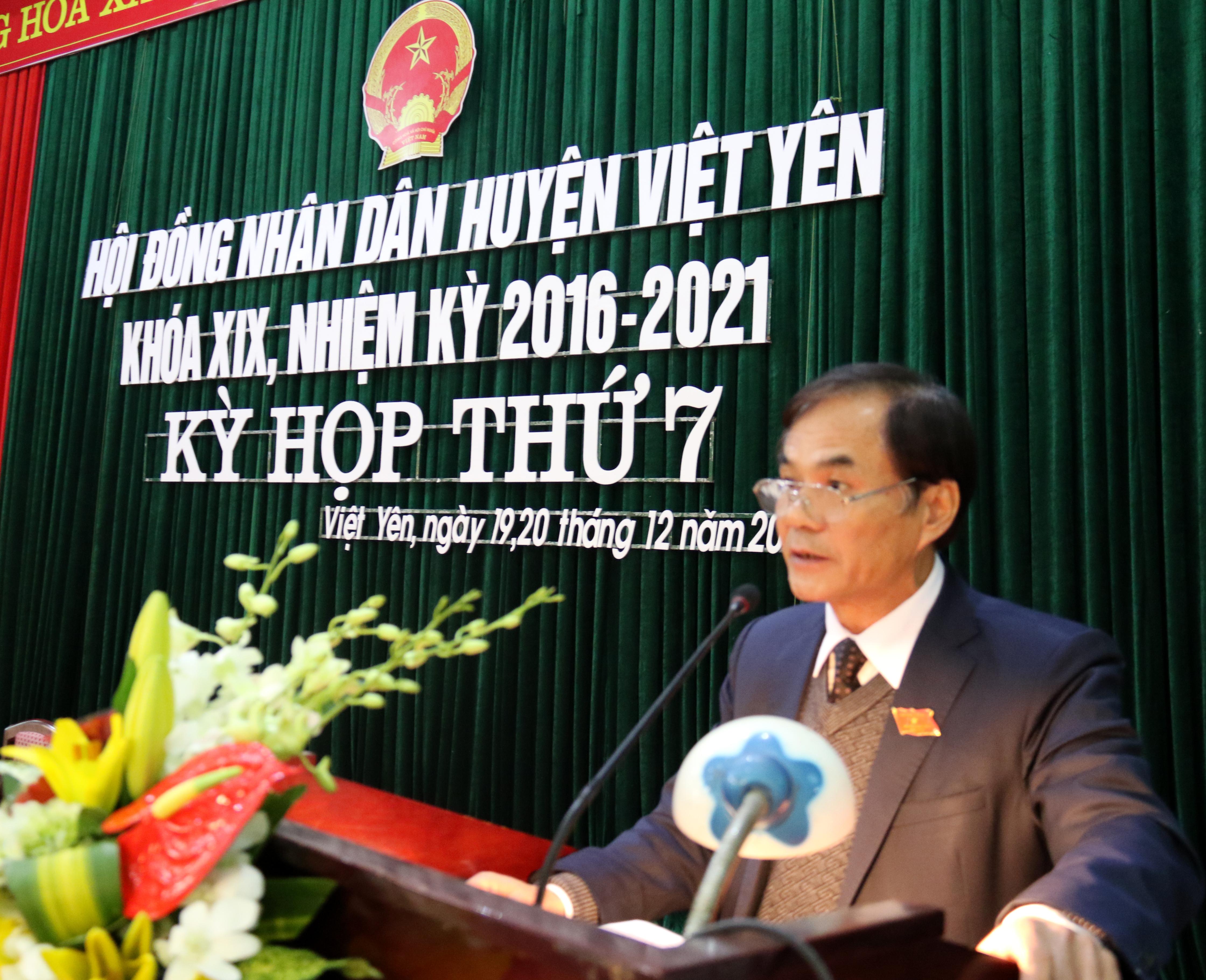 Kỳ họp thứ 7, HĐND huyện Việt Yên khoá XIX (nhiệm kỳ 2016 - 2021)
