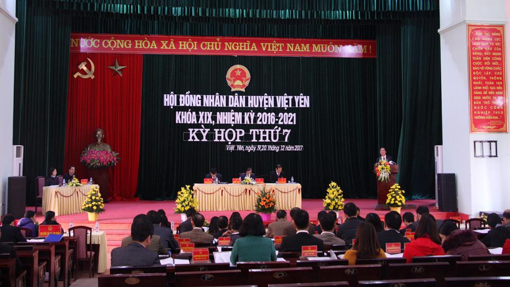 HĐND huyện Việt Yên, kỳ họp, thông qua nghị quyết