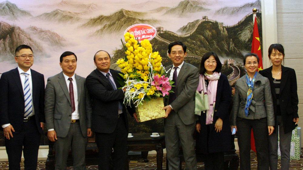 Bắc Giang, các đồng chí lãnh đạo tỉnh,  chúc Tết,  Đại sứ quán,  nước Cộng hòa nhân dân Trung Hoa, Hàn Quốc