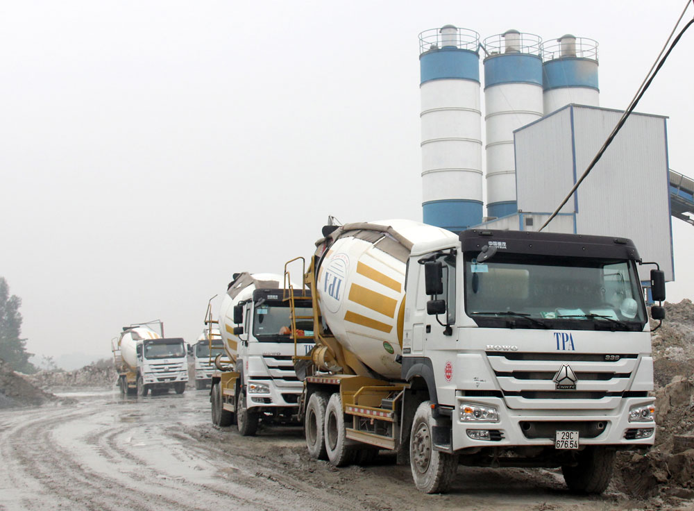 Công trường sản xuất bê tông của Công ty TNHH Sản xuất thương mại xây dựng TPA tại quận Hoàng Mai (Hà Nội).