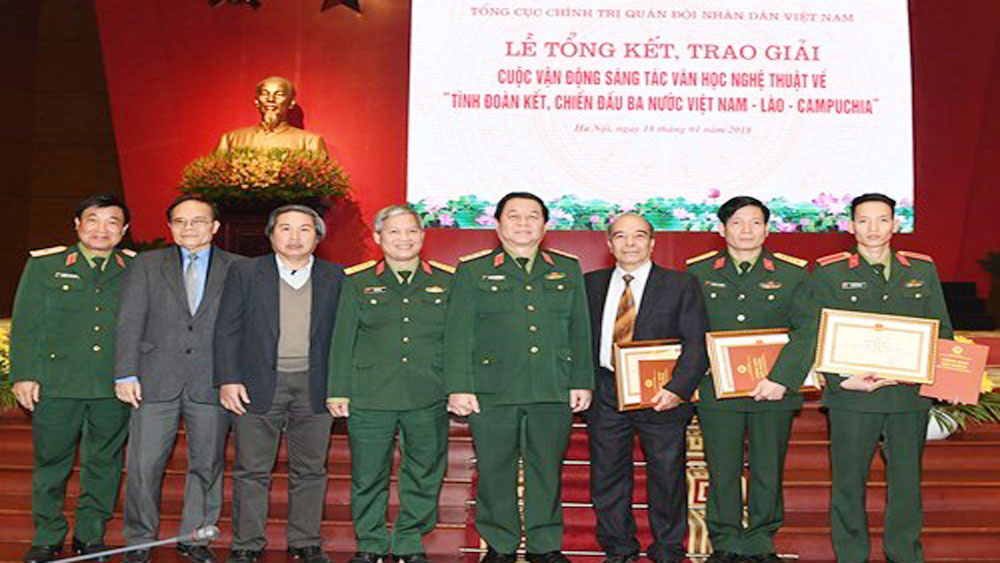 Literature, art works, Vietnam-Laos-Cambodia solidarity, fighting solidarity, Friendship Year, Treaty on Amity, diplomatic ties, culture exchanges, awarding ceremony