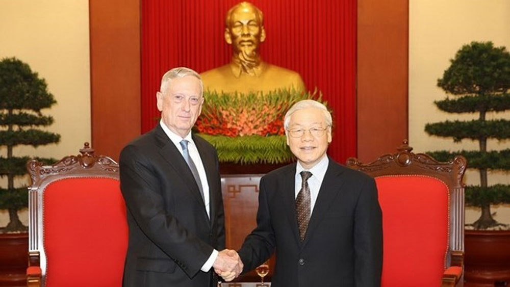 Party chief welcomes US Secretary of Defence