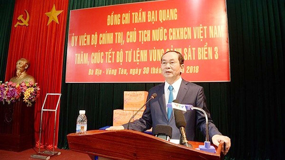 President Quang pays Tet visit to officers, soldiers of Coast Guard Region 3