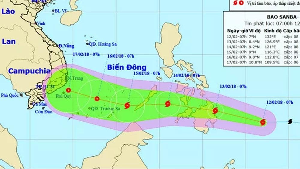 Bão Sanba giật cấp 11 đang tiến nhanh vào Biển Đông