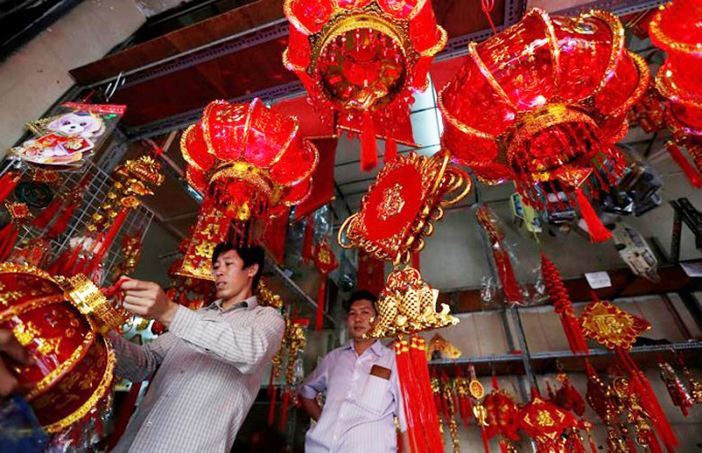 Lunar New Year, Asia countries, Tet holiday, traditional festival, dragon dance, dog lanterns, colorful spring festival