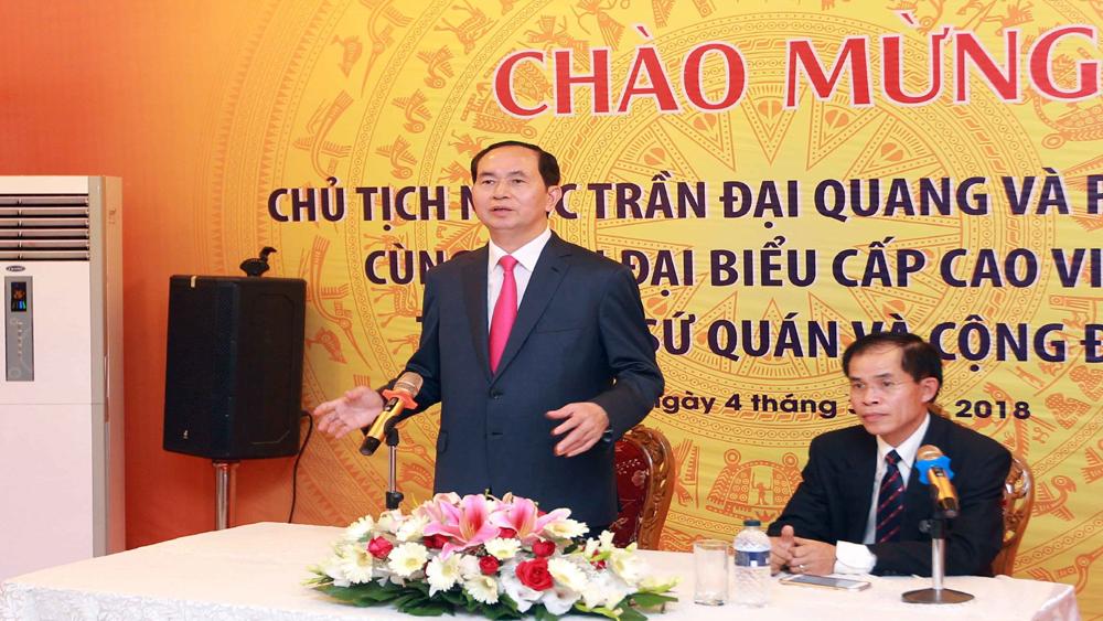Chủ tịch nước Trần Đại Quang thăm, nói chuyện với cán bộ, nhân viên Đại sứ quán tại Bangladesh