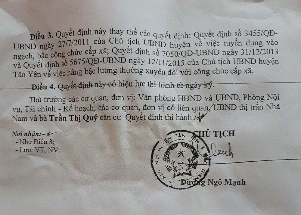 Tính lương chưa đúng, bà Trần Thị Quý, thị trấn Nhã Nam, cơ quan có trách nhiệm, đã sửa sai