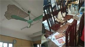 Bị mảng vữa trần lớp học rơi trúng, 3 học sinh bị thương