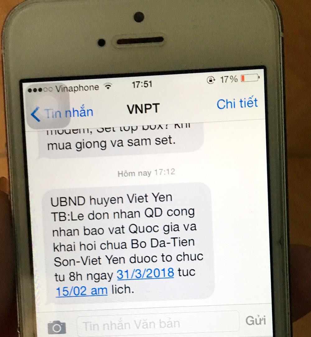 Việt yên, chùa Bổ Đà, tin nhắn