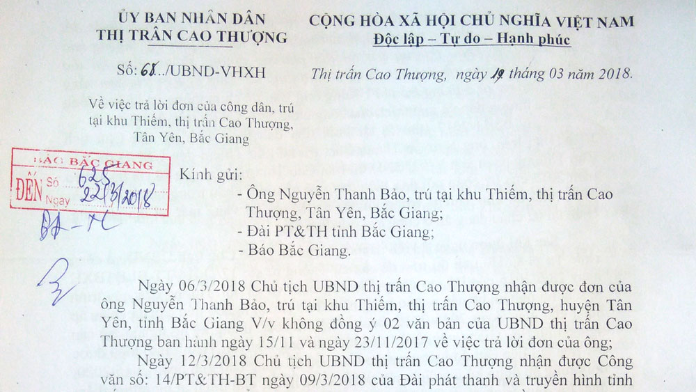 Không có căn cứ giải quyết đơn của ông Nguyễn Thanh Bảo