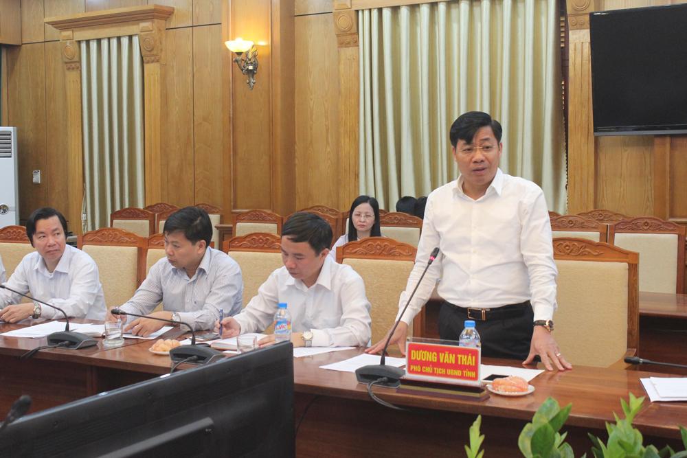 Đồng chí Dương Văn Thái, Phó Chủ tịch UBND tỉnh Bắc Giang phát biểu tại buổi làm việc.