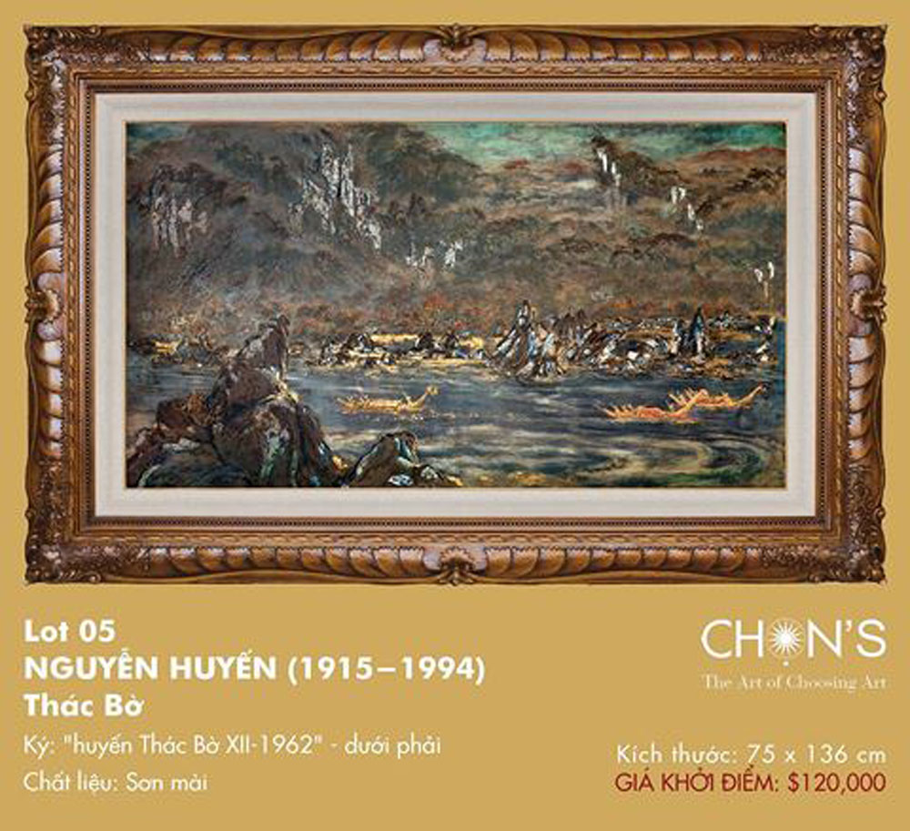 Masterpiece lacquer painting, record  price, Thac Bo, Bo Waterfall, recent auction, Chon's Auction House, intrinsic investment value, hidden symbols