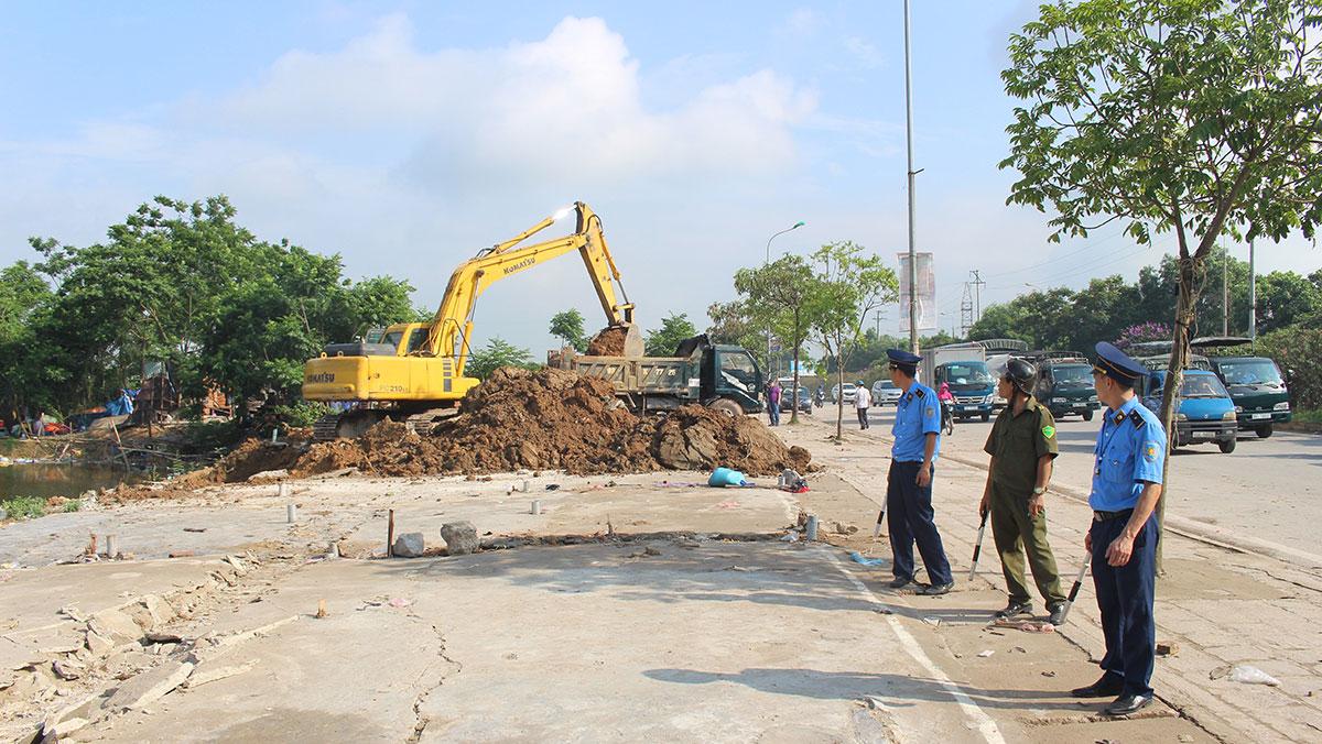 Việt Yên giải tỏa vi phạm cho đường thông hè thoáng