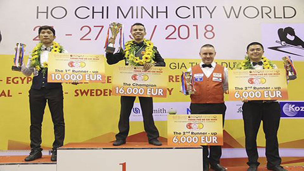 Vietnamese wins Three-Cushion Carom Billiards World Cup in HCM City