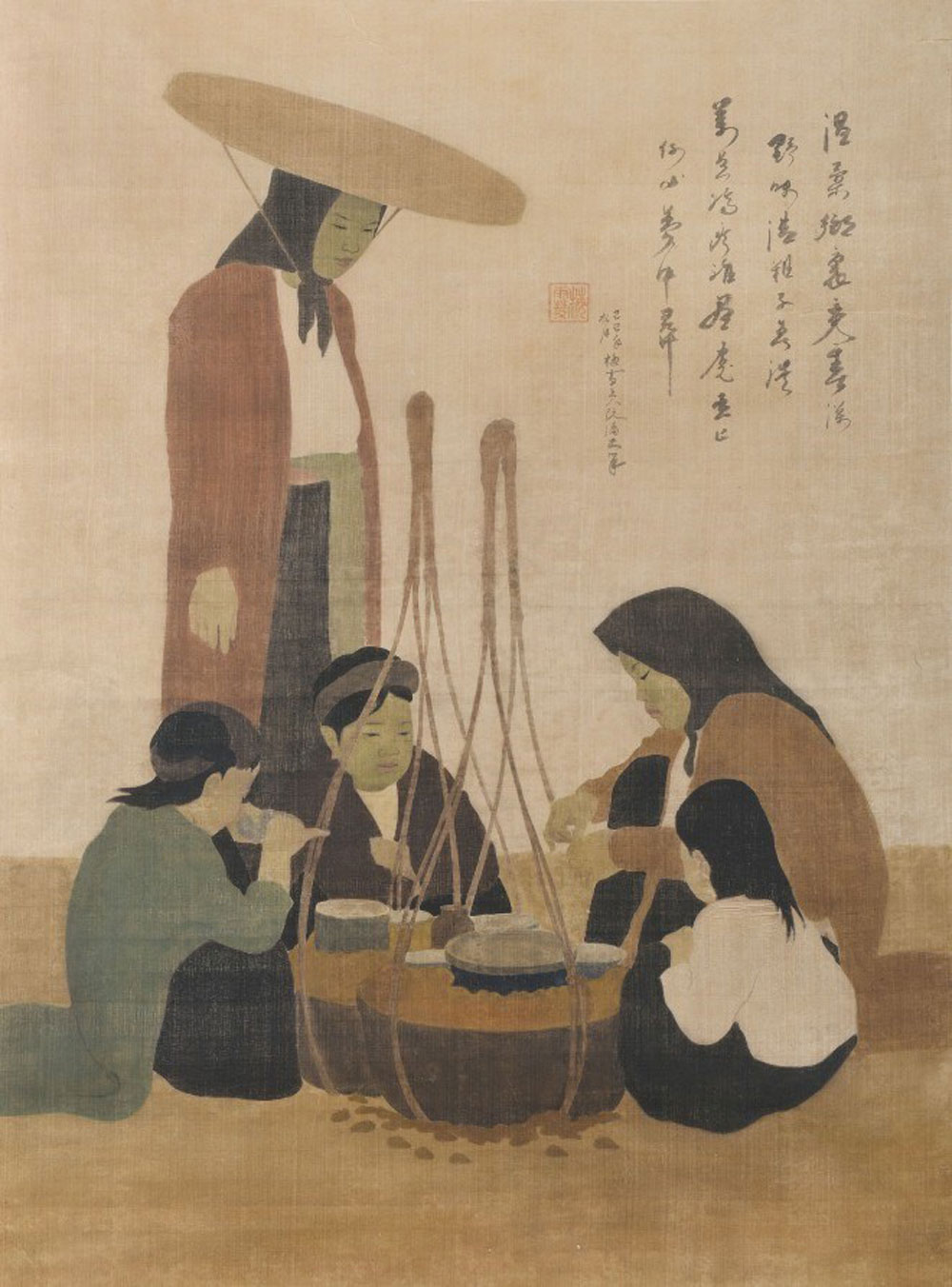Vietnamese painting, Vietnamese artist, record price, silk painting, leading painters, contemporary fine arts, Christie's Hong Kong, highest price, Vietnamese artist, The Snail Seller